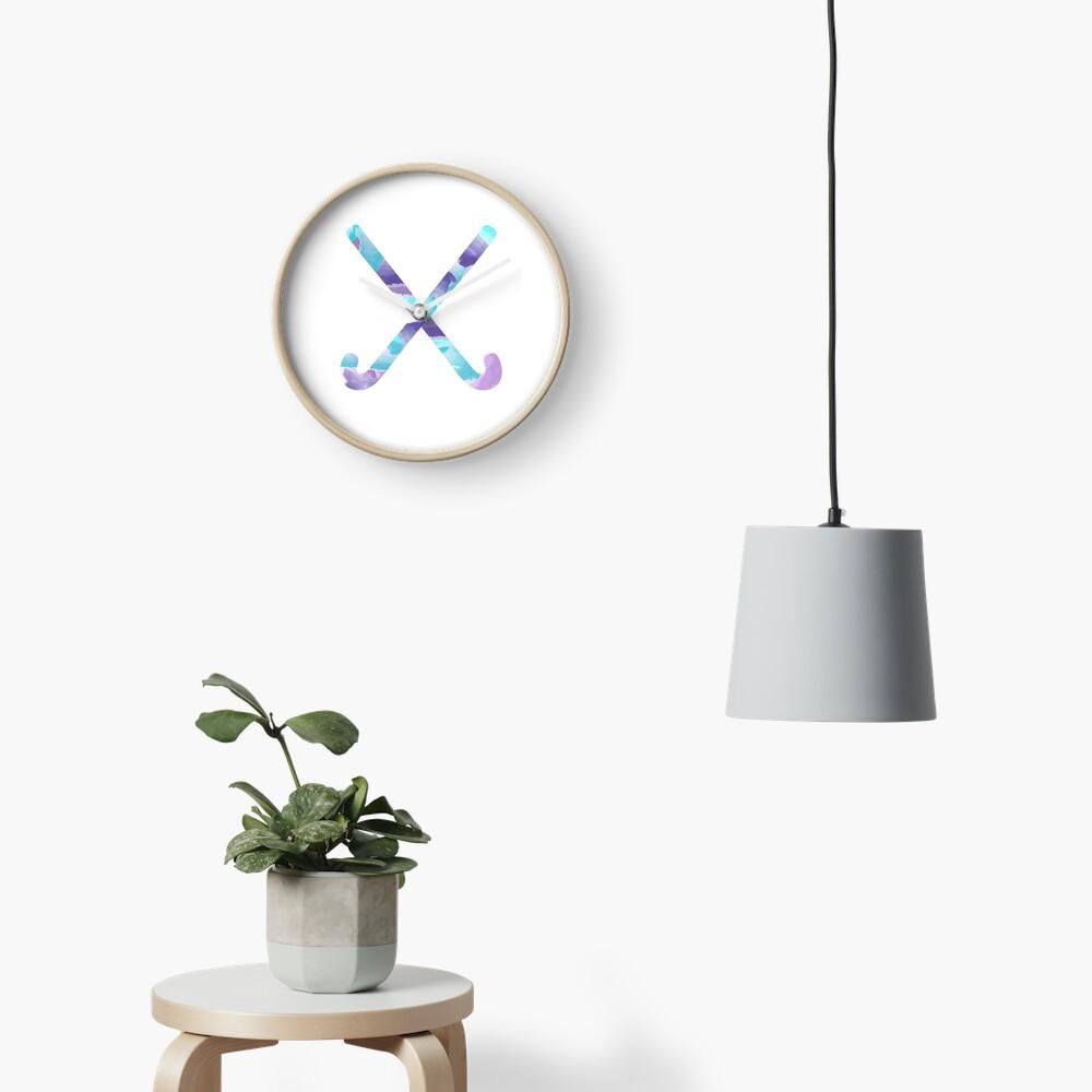 Field Hockey Watercolor Clock