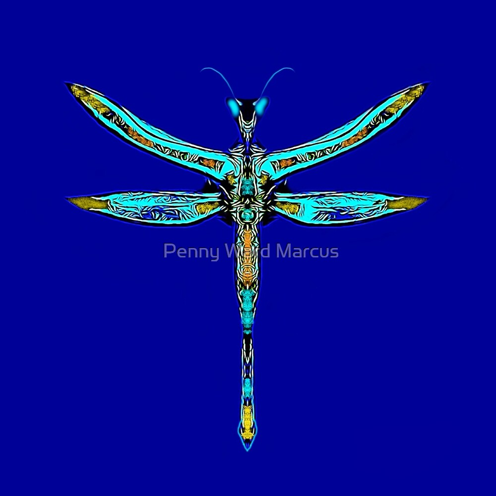 Dragonfly on deep blue by Penny Ward Marcus
