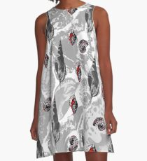 Grey and Red seashells pattern A-Line Dress