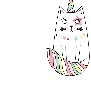 Funny Caticorn Unicorn Print by pinewayart