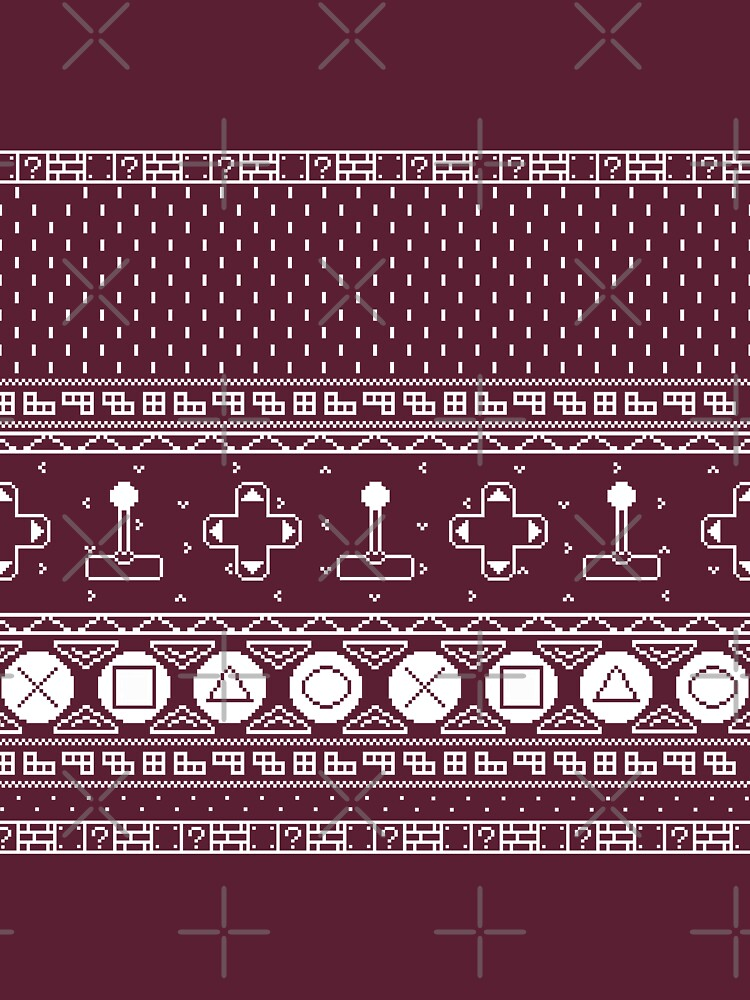Ugly Christmas Sweater Pattern.8 Bit Video Game Ugly Christmas Sweater Pattern Unisex T Shirt