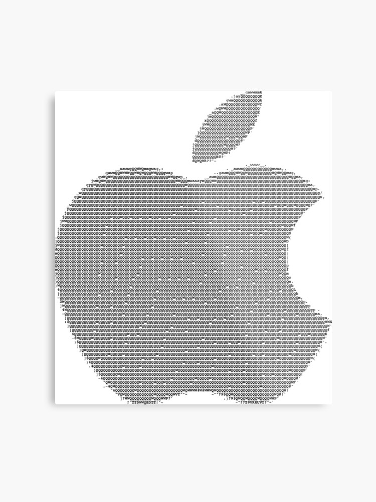 Apple logo in ASCII Art | Metal Print