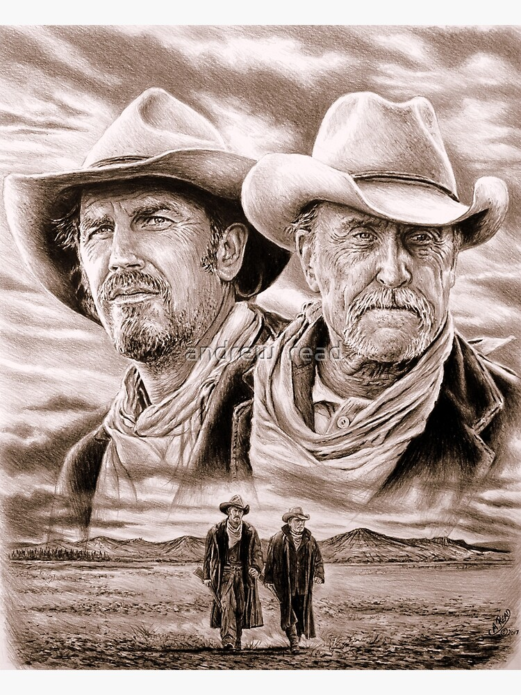Western Art Lonesome dove Prints Drawing Of Gus McCrae,Portrait of Gus McCrae