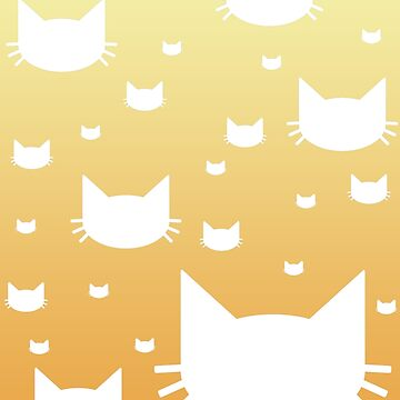White Cat Pattern with Orange Gradient by Pencil-Princess