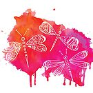 Color Me Dragonflies : Watercolor Pink by Janelle Wourms