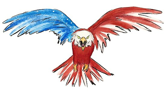 American Eagle Watercolor Red White Blue Posters By Pseudollama