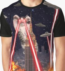 Cat Attack New York City Ufo Explosions Lasers and Cute Invasion from Space Graphic T-Shirt