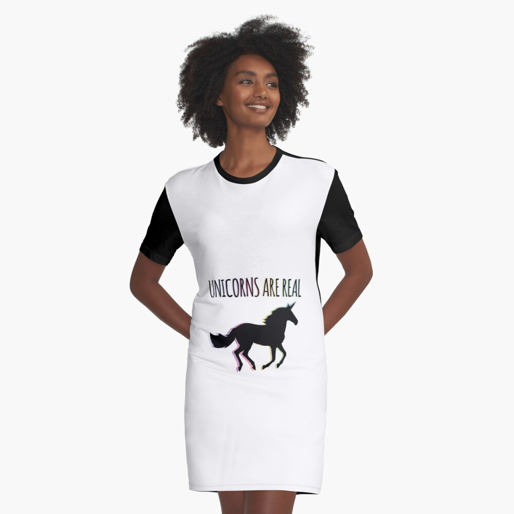 Unicorns are Real Rainbow Version Graphic T-Shirt Dress