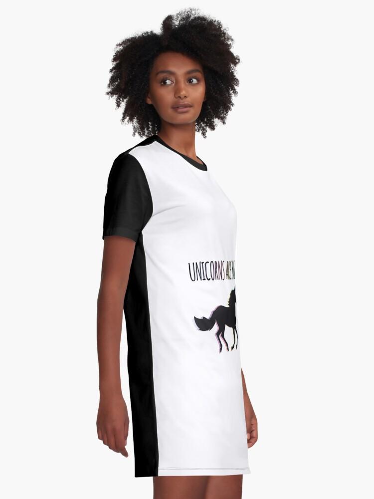 Alternate view of Unicorns are Real Rainbow Version Graphic T-Shirt Dress