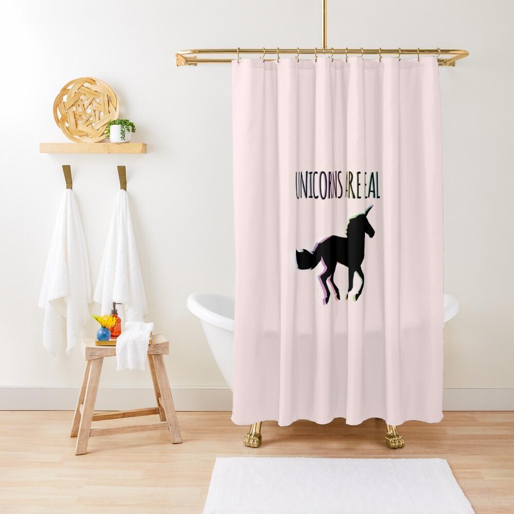 Unicorns are Real Rainbow Version Shower Curtain