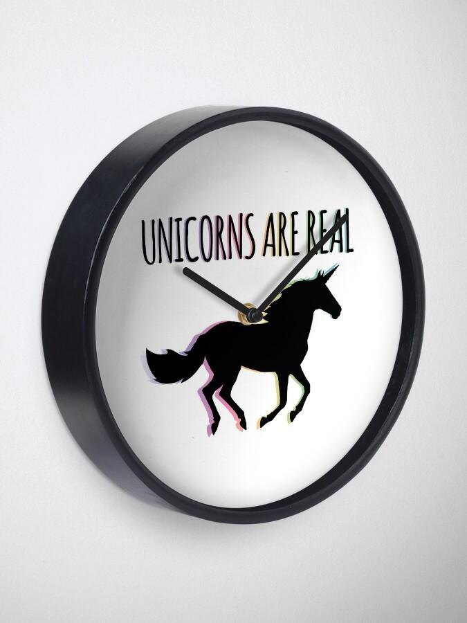 Alternate view of Unicorns are Real Rainbow Version Clock