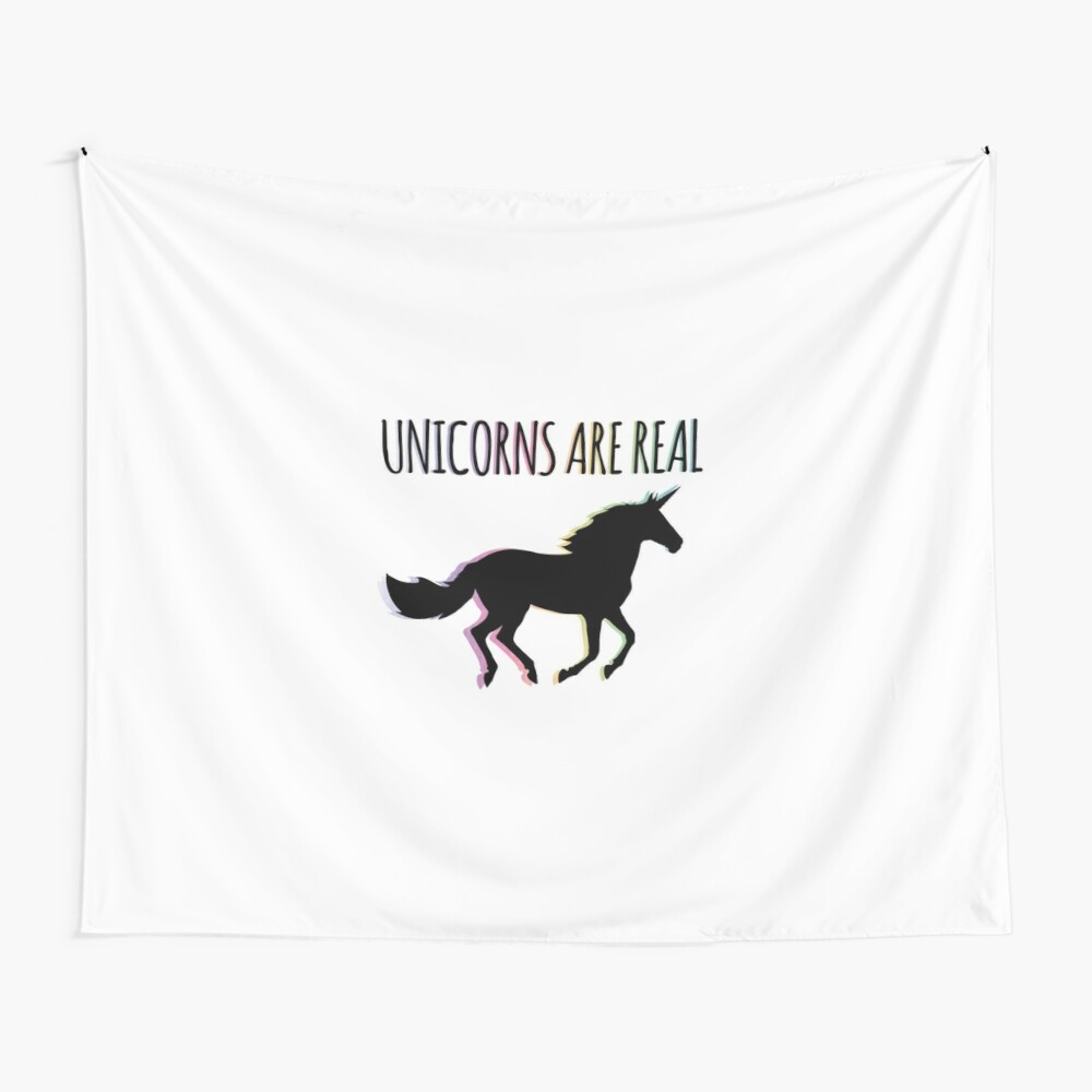 Unicorns are Real Rainbow Version Wall Tapestry