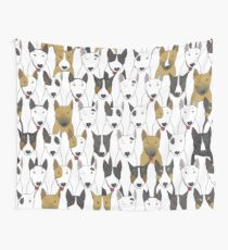Funny bull terriers pattern Wall Tapestry