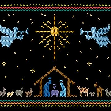 Knitted Nativity - Ugly Merry Christmas Sweater Knit Manger by 26-Characters