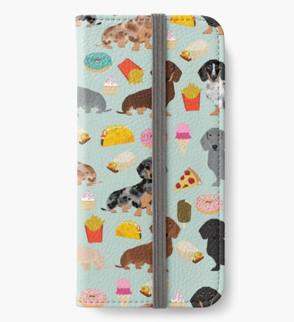 Dachshund doxie dachsie junk food pizza donuts french fries dog breed gifts iPhone Wallet