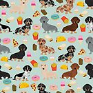 Dachshund doxie dachsie junk food pizza donuts french fries dog breed gifts by PetFriendly