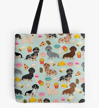 Dachshund doxie dachsie junk food pizza donuts french fries dog breed gifts Tote Bag