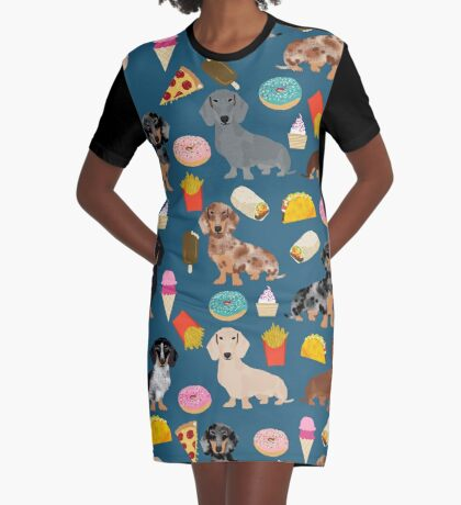 Dachshund doxie dachste junk food peizza donuts french fries dog breed gifts Graphic T-Shirt Dress