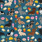 Dachshund doxie dachste junk food peizza donuts french fries dog breed gifts by PetFriendly