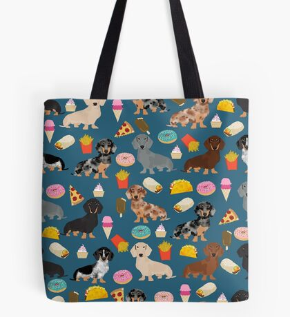 Dachshund doxie dachste junk food peizza donuts french fries dog breed gifts Tote Bag