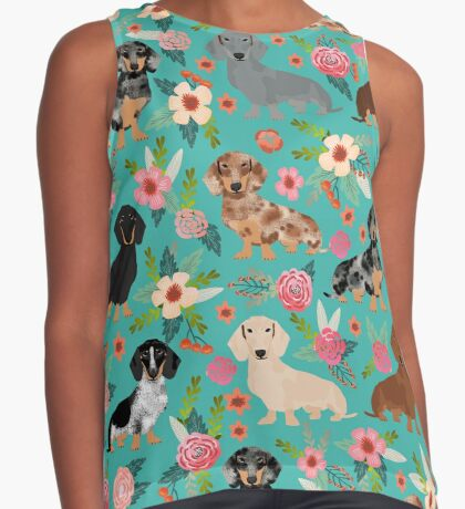 Dachshund doxie dachsie floral flowers dog breed gifts Sleeveless Top