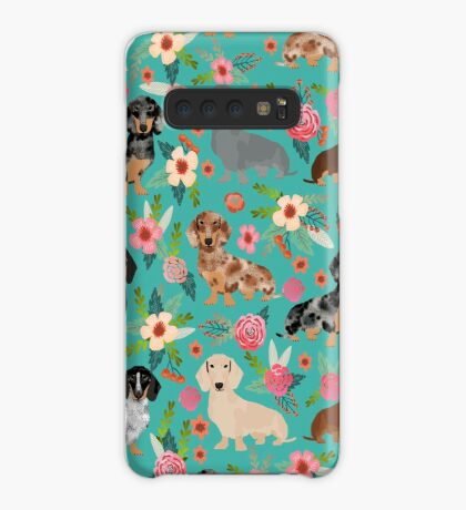Dachshund doxie dachsie floral flowers dog breed gifts Case/Skin for Samsung Galaxy