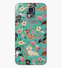 Dackel Doxie Dachsie Blumen Blumen Hunderasse Geschenke Hülle & Klebefolie für Samsung Galaxy