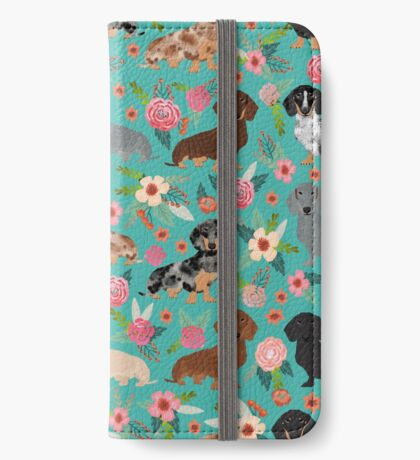 Dachshund doxie dachsie floral flowers dog breed gifts iPhone Wallet