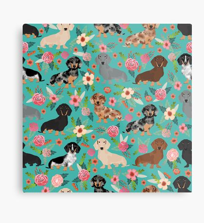 Dachshund doxie dachsie floral flowers dog breed gifts Metal Print