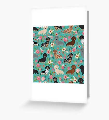 Dachshund doxie dachsie floral flowers dog breed gifts Greeting Card