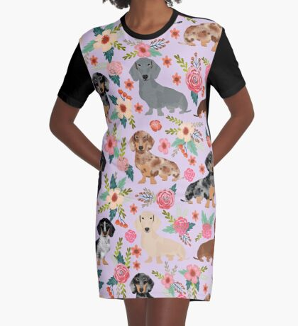 Dachshund floral flowers doxie dachsie dog breed pattern Graphic T-Shirt Dress