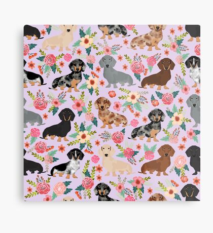 Dachshund floral flowers doxie dachsie dog breed pattern Metal Print