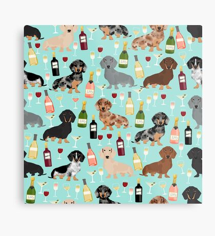 Dachshund wine champagne cocktails rose doxie dachsie dog breed pattern Metal Print