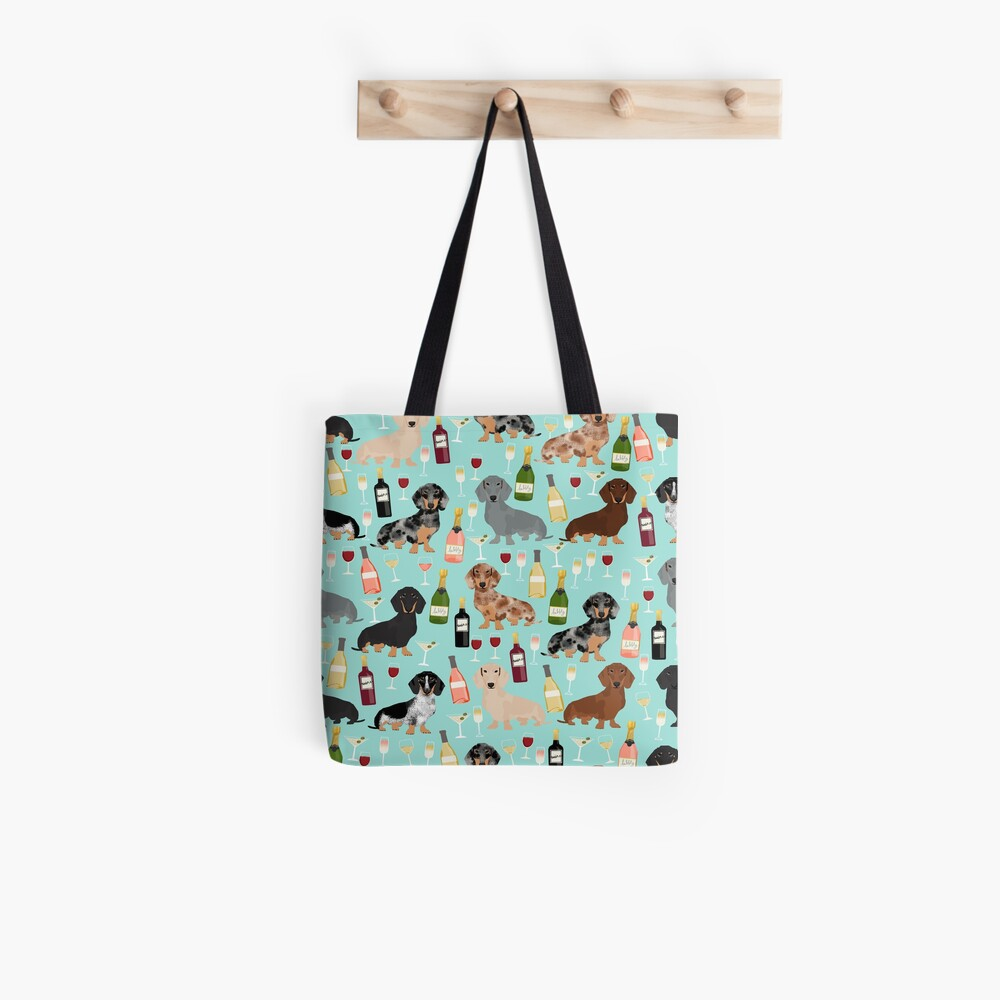 Dachshund wine champagne cocktails rose doxie dachsie dog breed pattern Tote Bag