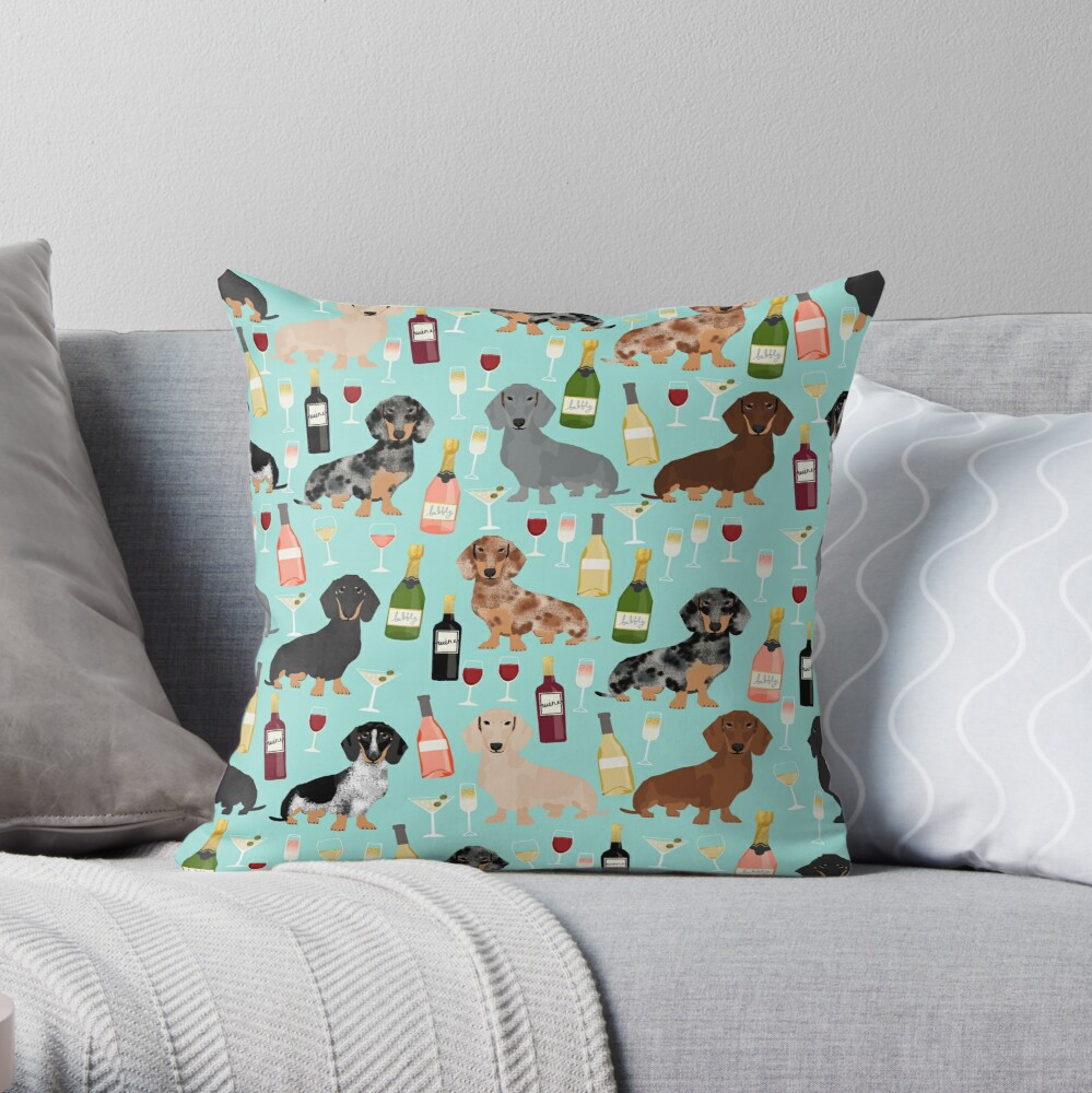 Dachshund wine champagne cocktails rose doxie dachsie dog breed pattern Throw Pillow