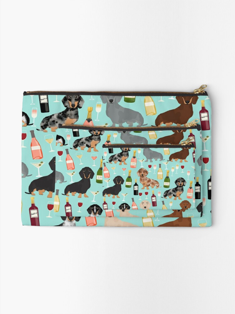 Alternate view of Dachshund wine champagne cocktails rose doxie dachsie dog breed pattern Zipper Pouch