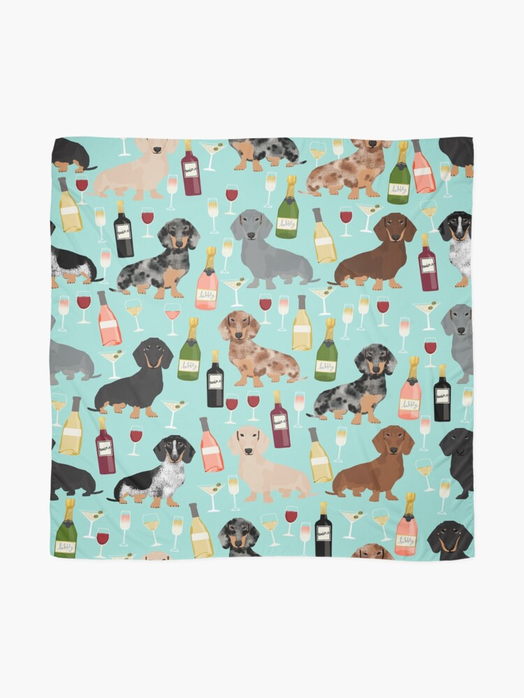 Alternate view of Dachshund wine champagne cocktails rose doxie dachsie dog breed pattern Scarf