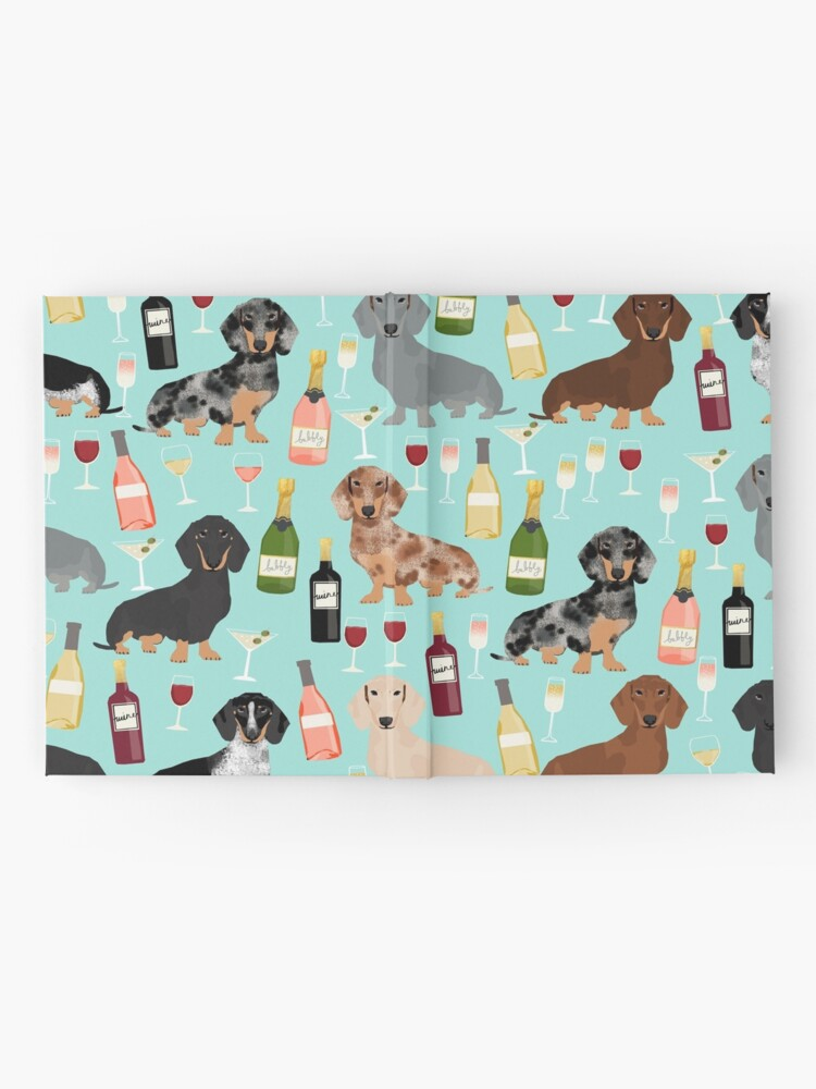 Alternate view of Dachshund wine champagne cocktails rose doxie dachsie dog breed pattern Hardcover Journal