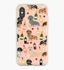 Dachshund doxie dachsie champagne wine cocktails dog breed gifts iPhone Case