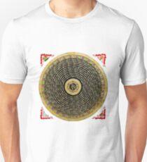 Tibetan Thangka - Om Mandala with Syllable Mantra over White Leather T-Shirt