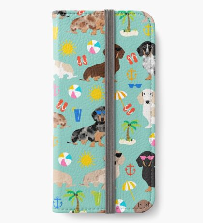 Dachshund doxie dachsie summer beach tropical vacation dog breed gifts iPhone Wallet