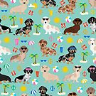Dachshund doxie dachsie summer beach tropical vacation dog breed gifts by PetFriendly