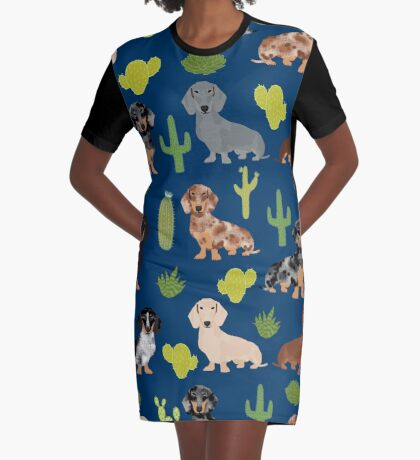 Dachshund doxie dachsie cactus desert southwest vacation dog breed gifts Graphic T-Shirt Dress