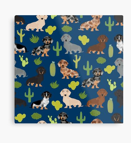 Dachshund doxie dachsie cactus desert southwest vacation dog breed gifts Metal Print