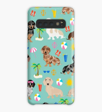 Dachshund doxie dachsie summer beach tropical vacation dog breed gifts Case/Skin for Samsung Galaxy