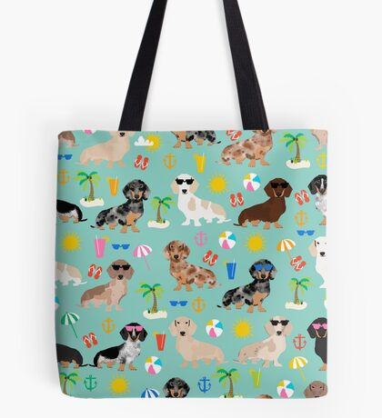 Dachshund doxie dachsie summer beach tropical vacation dog breed gifts Tote Bag
