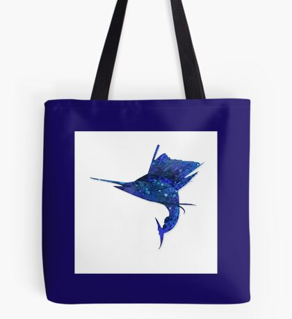 Mosaic Sailfish DARK / Watercolour Effect (Print) Tote Bag