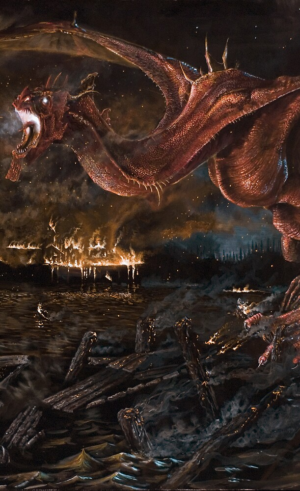 """Detail from """"Smaug Burning Laketown"""" by Charles  Burggraf"""