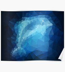Blue Dolphin Art Effect Wallpaper Poster