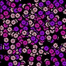 Pink and Purple Flowers on Black by Greenbaby